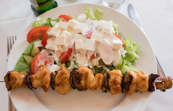 Grilled, skewered chicken with a fresh salad, Café Kör, Budapest, Hungary