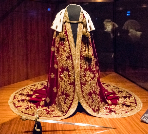 Mantle of the Austrian Emperor, Vienna, 1830, made of velvet, guimped embroidery in gold, paillettes, gold braid, ermine, and silk; Kaiserliche Schatzkammer Wien (Imperial Treasury), Vie