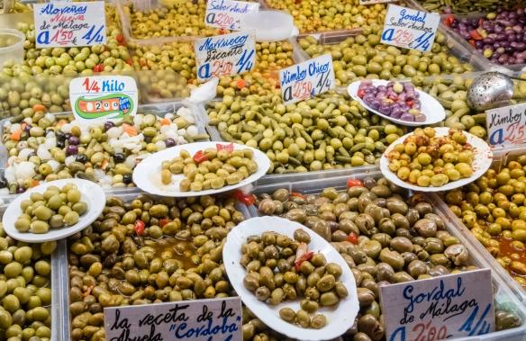Olives at the Mercado Atarazanas, Málaga, Spain