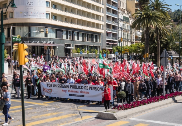 Our driving tour of Málaga, Spain, had to be rerouted due to the protest march for a public pension system, today, tomorrow and always