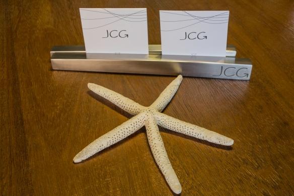 Presentation of the menus on our table at José Carlos Garcia Restaurante, Málaga, Spain