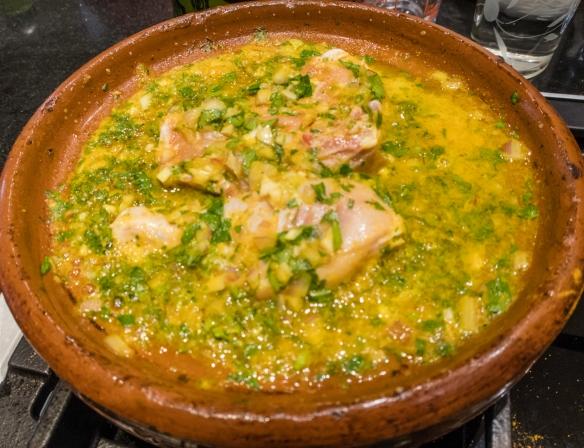 Raw chicken in a tagine with the sauce before cooking on the stove top (the preserved lemons and green olives were added toward the end in order to not be overcooked), Cooking School, La