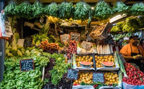 Springtime in Spain translated into a wide selection of fresh fruits and vegetables, Mercado Atarazanas, Málaga, Spain
