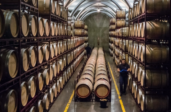The barrel ageing room in the cellar of the Juan Gil winery, Juan Gil Bodegas Familiares (Gil Family Estates), Jumilla, Spain