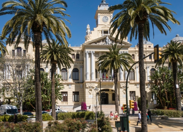 The City Council Building is one of several impressive buildings located on the Paseo del Parque, a beautiful tree-lined main thoroughfare in Málaga, Spain