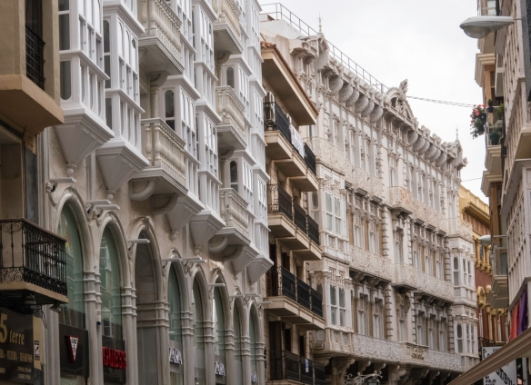 The city's characteristic Casco Antiguo (Old Quarter) features Art Nouveau townhouses built between the late 19th and early 20th centuries, Cartagena, Spain