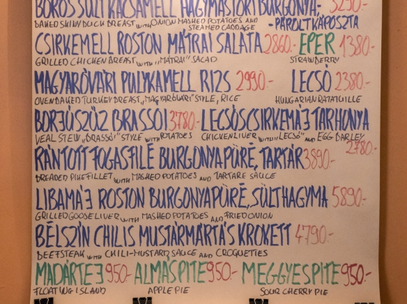 The daily specials menu at Café Kör, Budapest, Hungary, was handwritten and posted on the wall