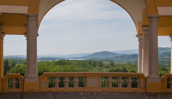 The Danube River and the Wachalu Valley as seen from the Colomon Courtyard (named for an Irish king_s son martyred in Stockerau, near Vienna, on a pilgrimage to Jerusalem in 1012), Mel