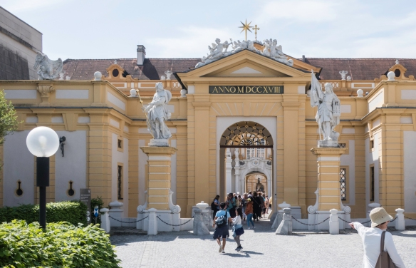 The entrance from the gardens to Melk Abbey, situated above the Danube River in the Wachau Valley, Melk, Austria