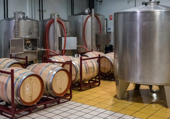 The fermentation tanks and ageing barrels for the Juan Gil Etiqueta Azul (Juan Gil Blue Label) wine, Juan Gil Bodegas Familiares (Gil Family Estates), Jumilla, Spain