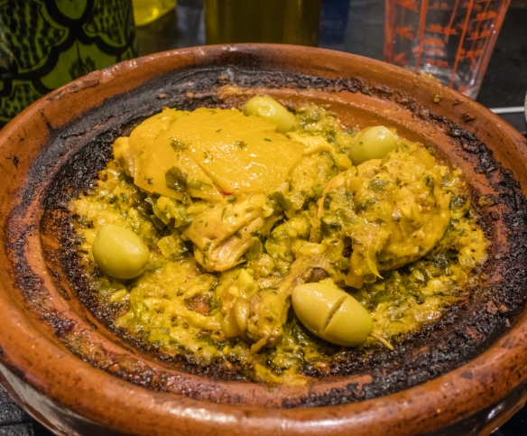 The finished chicken tagine with the preserved lemon slices and green olives, Cooking School, La Maison Arabe, Marrakech, Morocco