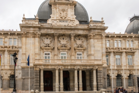 The front entrance of the Art Nouveau city hall on Calle Mayor, Cartagena, Spain