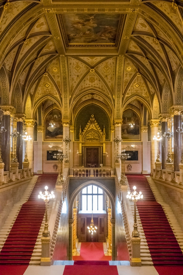 The gilded main staircase in the Hungarian National Parliament building, Budapest, Hungary