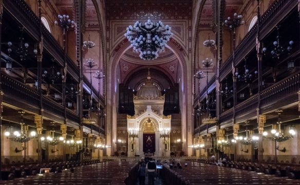 The interior of the Dohány Street Synagogue, Budapest, Hungary