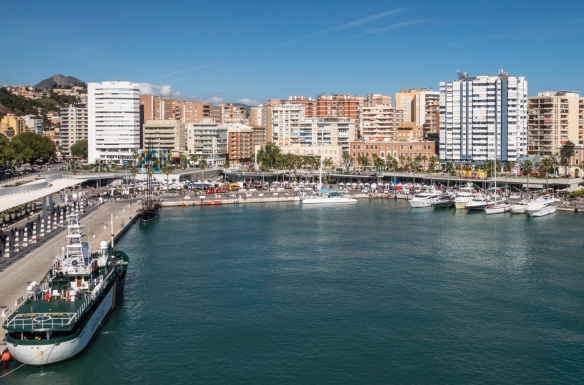 The La Malagueta barrio (district) provides access to the popular La Malagueta beach and the promenade facing the port is lined with bars, restaurants and shops, Málaga, Spain