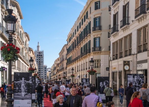 The main shopping street of Málaga, Spain, Marqués de Larios, was lined with red carpet during the celebration of the annual Spanish International Film Festival in the city the week