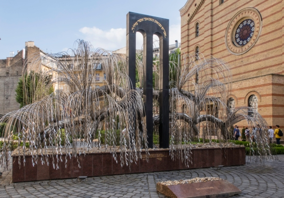 The Memorial of the Hungarian Jewish Martyrs (resembling a weeping willow whose leaves bear inscriptions with the names of some of the holocaust victims) – in memory of the at least 40