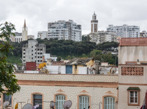 The minaret of the Mohammed V Mosque rises above the old and new in Tangier, Morocco