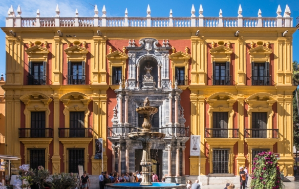 The Palacio Episcopal (Bishop_s Palace), adjacent to the Málaga Cathedral, was designed by the master builder of the Cathedral, Antonio Ramos, and features a statue of the Virgin de