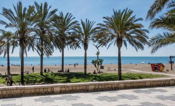 The popular La Malagueta beach, Málaga, Spain--The popular La Malagueta beach, Málaga, Spain--The popular La Malagueta beach, Málaga, Spain