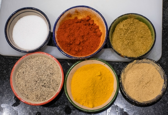 The six main spices used in our class- salt, paprika, cumin, black pepper, turmeric, and ginger; Cooking School, La Maison Arabe, Marrakech, Morocco