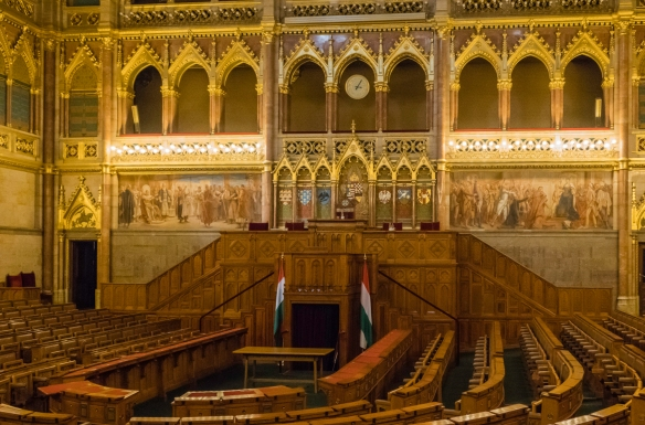 "The unicameral legislature_s ""Assembly Hall of the House of Magnates"" in the Hungarian National Parliament building, Budapest, Hungary"