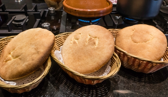 Traditional Moroccan flatbreads cooling after baking, Cooking School, La Maison Arabe, Marrakech, Morocco