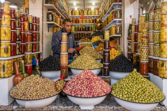 We bought a number of different preparations of olives at this shop in a souk in Marrakech, Morocco