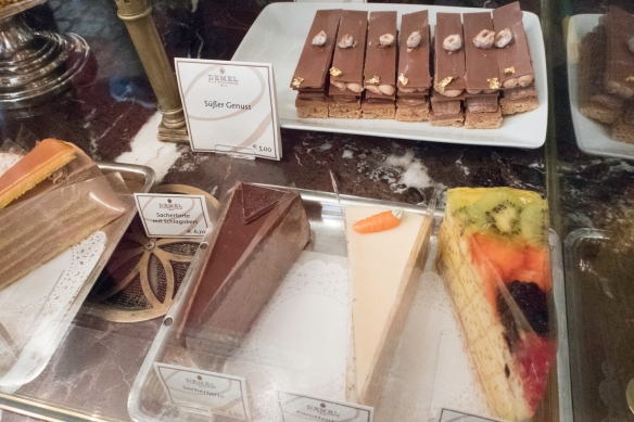 We had lunch at Demel, famous for its chocolates and pastries, in the old quarter of Vienna, Austria