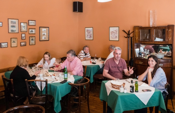 We were the only English-speaking tourists at Café Kör for lunch – virtually all the other diners were locals (couples, business groups and families), Budapest, Hungary