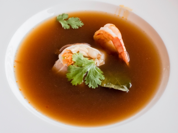 A first course of shrimp in an Oriental broth, Restaurant Terasa U Zlaté studně, Prague, Czech Republic