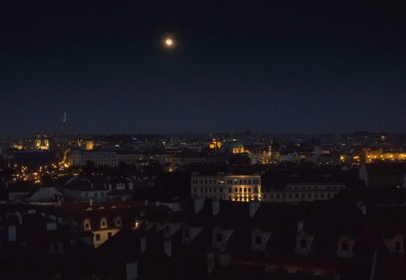 After dinner, the view of the city from Restaurant Terasa U Zlaté studně, Prague, Czech Republic, included the full moon – a fitting conclusion to a wonderful evening