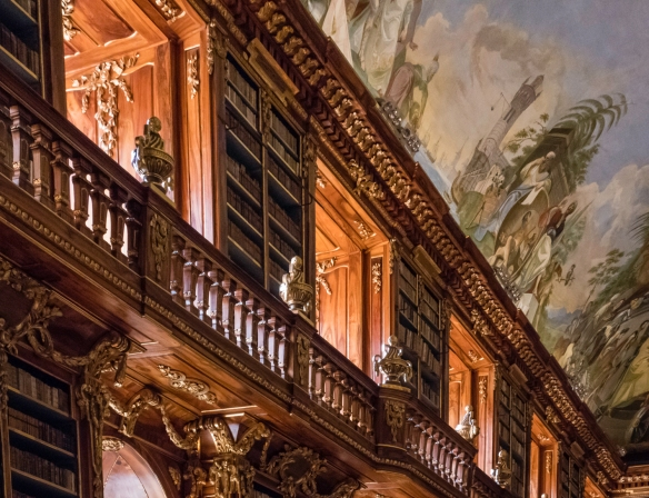 Details of the 18th century woodworking and gold gilding in the Philosophical Hall of the Strahov Library, Strahov Monastery, Prague, Czech Republic