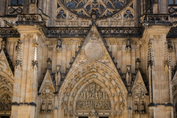 Details of the Gothic front façade of Saint Vitus Cathedral, Prague Castle, Prague, Czech Republic