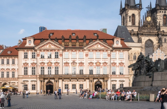 Kinsky Palace is one of the older buildings in Old Town Square (Staroměstské náměstí, or Staromák for short), Prague, Czech Republic; note that all of Old Town in Czech is St