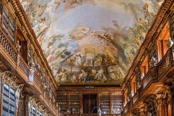 "Muralist Anton Maulbertsch painted the fresco called ""Spiritual Development of Mankind"" on the Philosophical Hall of the Strahov Library ceiling from 1776 to 1778, Strahov Monastery,"