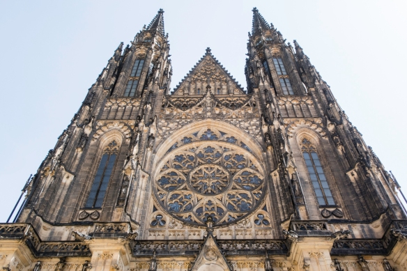 Saint Vitus Cathedral, within Prague Castle (Czech- Pražsky hrad), is the largest and the most important temple in Prague and the site of coronations of Czech kings and queens; Prague,