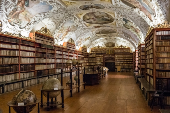 The Philosophical Hall of the Strahov Library of Strahov Monastery, Prague, Czech Republic, was built in 1783 and the interior was installed from 1794 to 1797 and quickly became famous t
