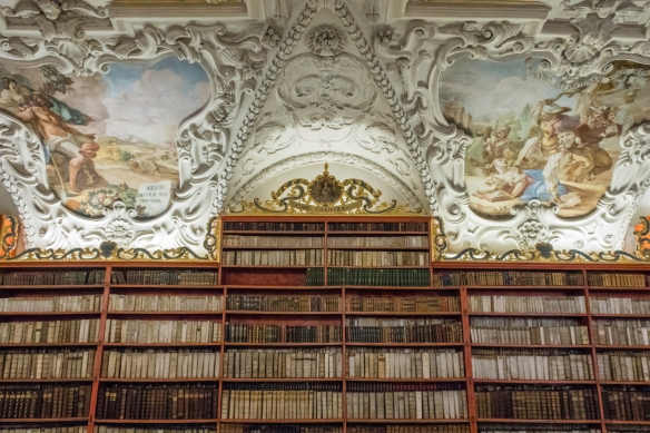 The Strahov Library has around 280,000 titles, of which 3,000 are manuscripts and 1,500 are incunabula, Strahov Monastery, Prague, Czech Republic