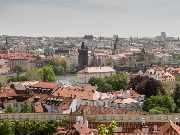 The view downhill and across the Vltava River from Prague Castle, Prague, Czech Republic