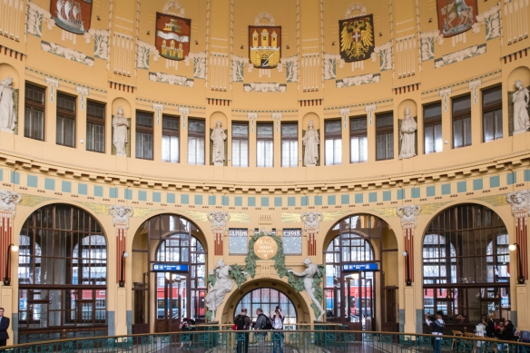 We arrived in Prague, Czech Republic, from Vienna, Austria, by high speed rail and our first sight of the city was this beautiful main hall of the Art-Nouveau train station, Praha hlavni