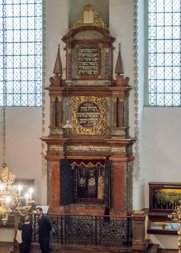 A close up of the Torah Ark, holding several torahs, in the Maisel Synagogue, the Jewish Quarter, Prague, Czech Republic