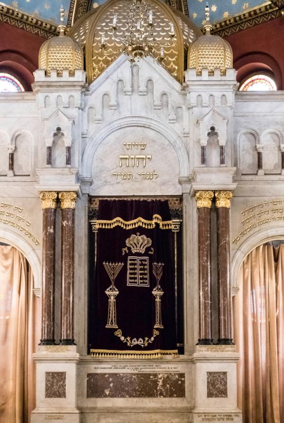 A close-up of the Torah Ark in Temple Synagogue (Synagoga Tempel), Kazimierz (Jewish District), Kraków, Poland