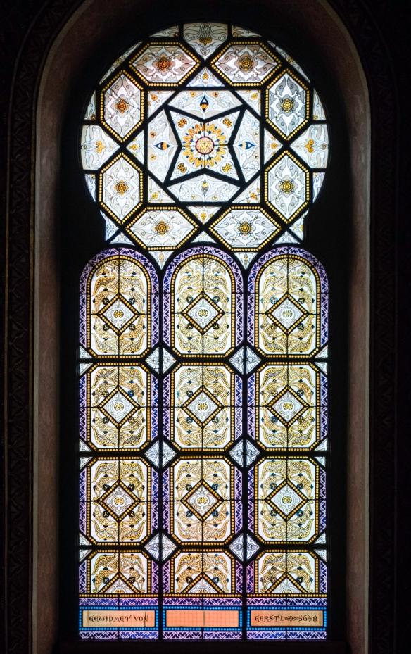 A stained glass window in the Spanish Synagogue, Prague, Czech Republic; signed Gewidmet von Gerstz 5648 (the Jewish calendar year 5648 equals 1888 A.D.)