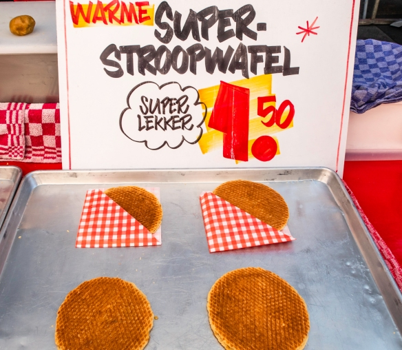 A stroopwafel is a waffle made from two thin layers of baked dough with a caramel syrup filling in the middle and are popular in the Netherlands, where they were first made in the city o
