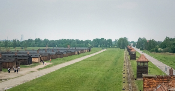 A view from the top of the administration building of the wooden barracks used as a quarantine area, Birkenau, Oświęcim, Poland