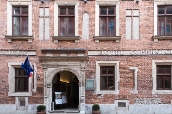 Also on Ul. Kanonicza, across the street from the Archdiocesan Museum, is the Copernicus Hotel where we stayed during our visit to Kraków, Poland; the hotel owes its name to the famou