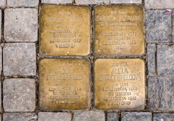 Brass memorial plaques for Jews from Prague who perished in the Holocaust, placed into the sidewalks in the Jewish Quarter, Prague, Czech Republic