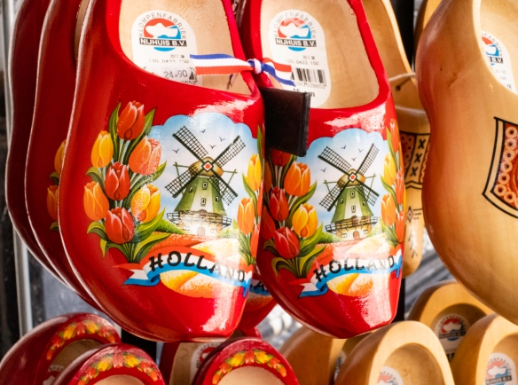 Brightly decorated wooden clogs (shoes), Albert Cuyp Market, Amsterdam, The Netherlands