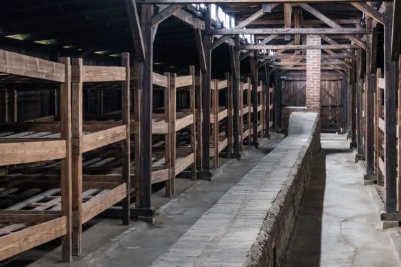 Bunk beds inside one of the barracks, Birkenau, Oświęcim, Poland
